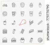 fast food line icons set | Shutterstock .eps vector #775770790