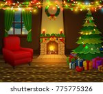 christmas fireplace with xmas...   Shutterstock .eps vector #775775326