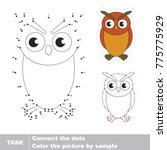 filin owl bird. dot to dot... | Shutterstock .eps vector #775775929