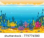 underwater scene with tropical... | Shutterstock .eps vector #775776580
