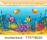 cute fish cartoon in the sea | Shutterstock .eps vector #775778020