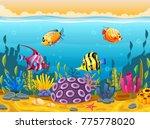 cute fish cartoon in the sea | Shutterstock .eps vector #775778020