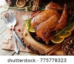 roast chicken or turkey for... | Shutterstock . vector #775778323