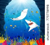 cartoon shark under the sea | Shutterstock .eps vector #775778998