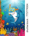 cartoon shark under the sea | Shutterstock .eps vector #775779004