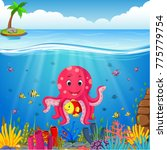 cute octopus under the sea | Shutterstock .eps vector #775779754