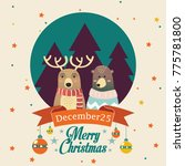 merry christmas reindeer and... | Shutterstock .eps vector #775781800