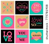 set of romantic badges and... | Shutterstock .eps vector #775781908