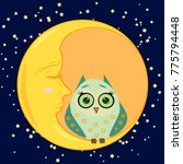 cute cartoon sleeping owl in... | Shutterstock .eps vector #775794448