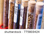 test tubes with bar codes with... | Shutterstock . vector #775803424