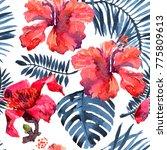 tropical background. watercolor ... | Shutterstock . vector #775809613