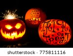 halloween pumpkin carving... | Shutterstock . vector #775811116