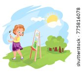 cute little girl painting an... | Shutterstock . vector #775816078