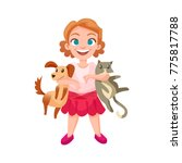 happy girl holding dog and cat... | Shutterstock . vector #775817788