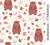 cute autumn seamless pattern.... | Shutterstock . vector #775820410