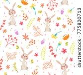cute autumn seamless pattern.... | Shutterstock . vector #775820713