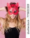 lady in cat mask. passion ... | Shutterstock . vector #775822309