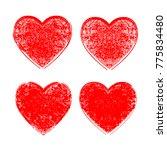 set of hearts . grunge stamps... | Shutterstock .eps vector #775834480