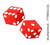 shiny red dices on the white...   Shutterstock . vector #775841116