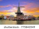 medieval adriaan windmill in... | Shutterstock . vector #775843549