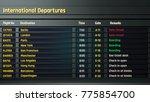 airport timetable  departure... | Shutterstock . vector #775854700