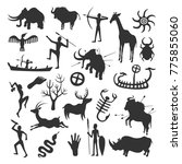 cave painting set. simple... | Shutterstock .eps vector #775855060