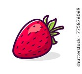 strawberry with green leaves...   Shutterstock . vector #775876069