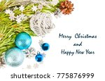 new year composition with fir... | Shutterstock . vector #775876999