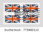 great britain flag on postage... | Shutterstock .eps vector #775880113