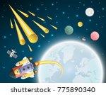 satellite and spaceship cartoon ... | Shutterstock .eps vector #775890340
