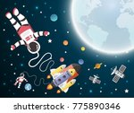 astronaut cartoon with a...   Shutterstock .eps vector #775890346