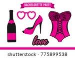 set of hen party banners  props ... | Shutterstock .eps vector #775899538