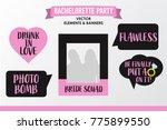 set of hen party banners  props ... | Shutterstock .eps vector #775899550