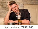 Single man. Alcoholic at bar drinking. - stock photo