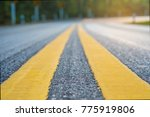 yellow sign on small and curve... | Shutterstock . vector #775919806
