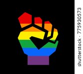 raised fist with colors of lgbt ... | Shutterstock .eps vector #775930573