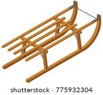 isometric wooden sled | Shutterstock .eps vector #775932304