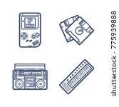 retro wave icon set | Shutterstock .eps vector #775939888