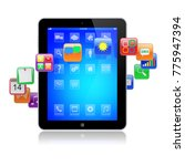 tablet pc computer gadget with... | Shutterstock . vector #775947394