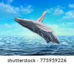 humpback whale jumping out of... | Shutterstock . vector #775959226