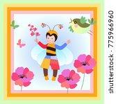 pretty little kid in colorful... | Shutterstock .eps vector #775966960