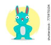 blue rabbit on a yellow... | Shutterstock .eps vector #775970104