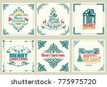 ornate square winter holidays... | Shutterstock .eps vector #775975720
