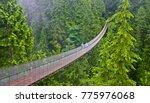 Stock photo areial view of capilano suspension bridge vancouver canada 775976068