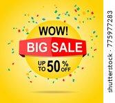 sale banner discount yellow... | Shutterstock .eps vector #775977283