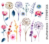 Watercolor Set Botanic Floral Blooming - Fine Art prints