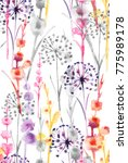 Stock photo watercolor sweet colorful color wild floral pattern delicate flower wallpaper wildflowers color 775989178
