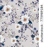 Stock photo beautiful seamless watercolour illustration wild blooming floral pattern delicate flowers white 775989184
