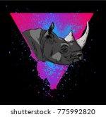 portrait of a rhinoceros. can... | Shutterstock .eps vector #775992820