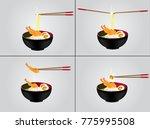 hot noodle background...   Shutterstock .eps vector #775995508